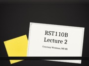 RST 110 Lecture 2: Management