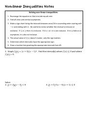 Non-linear Inequalities Notes