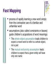 15_language 2 outline - Fast Mapping process of rapidly learning a ...