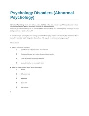 Psychology Disorders
