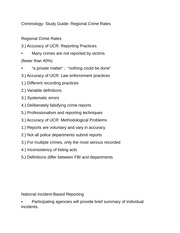 Criminology- Study Guide- Regional Crime Rates