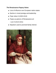 The Renaissance Papacy Notes