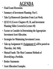 YU 3541, Lecture  9, Investment Planning, Part 2, SUMMER 2016, Posted Version.ppt