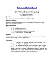 Introduction to Computing - CS101 Spring 2006 Assignment 07.doc