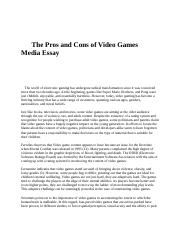 essay on pros and cons of video games