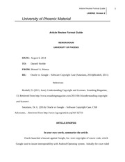 law 421 article review Law 421 week 3 individual assignment article review individual article review resource: university of phoenix material: article review format guide located on the.