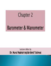 CHAPTER 2 FLUID STATICS (2) BAROMETER  MANOMETER