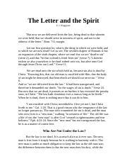 The Letter and the Spirit