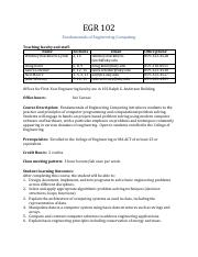 EGR 102 Syllabus Fall 2016