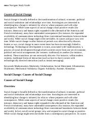Causes of Social Change Research Paper Starter - eNotes