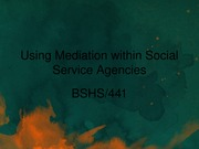 BSHS 441 Week 5 Team Assignment Presentation on the Use of Mediation within an Agency Setting