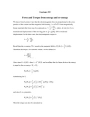 25 Force and Torque from energy and co-energy