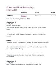 Ethics and Moral Reasoning-Final Exam