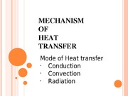 _MECHANISM OF HEAT TRANSFER (hand-out)