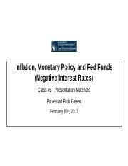 Class Lecture 5 - Inflation, Monetary Policy and Fed Funds - Final