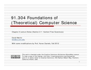 Lecture Notes E on Foundations of Computer Science