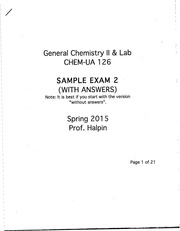 Gen Chem 2 Sample Exam 2 with answers