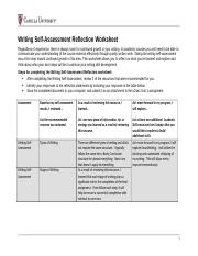 Self Assessment Reflection Assignment Doc Writing Self