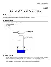 SPEED OF SOUND LAB REPORT