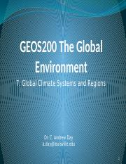 7. Global Climate Systems and Regions