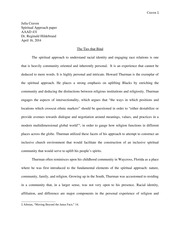 Intellectual Approach Paper on Thurman