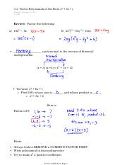 3.4   Factor Polynomials of the Form x2 + bx + c