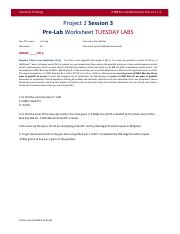 Project 2 session 3 pre lab