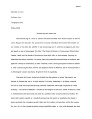 American Job Outsourcing Essay