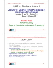Lecture 13 Discrete Time Processing of Continuous Time Signals