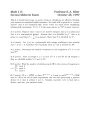 Math 115 - Fall 1999 - Ribet - Midterm 2