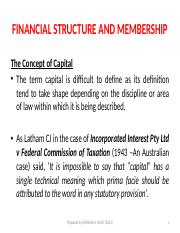 Lecture 8 - Financial Structure and Membership The Concept of Capital