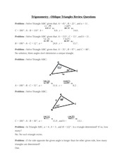 Trigonometry –Oblique Triangles Review Questions