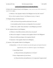 Legislative Branch in the Philippines Final Paper Outline (Political Science 14).docx