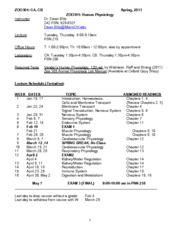 Human Physiology Syllabus