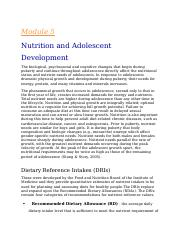 NOtes for nutrition Module 5 & 6
