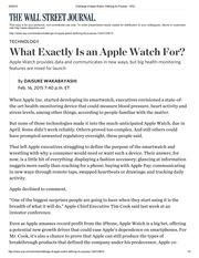 Challenge of Apple Watch_ Defining Its Purpose - WSJ