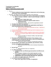 Compensation and Benefits study guide