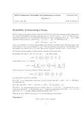 Probability of Generating a Group