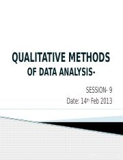 Qualitatitive Methods of Data Analysis