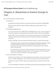 Chapter 17: Absolutism in Eastern Europe to 1740 - AP European History Chapter Outlines - Study Note