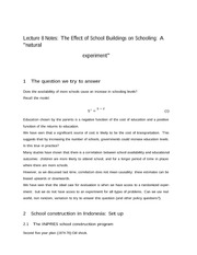 Lecture 8 Notes The Effect of School Buildings on Schooling