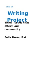 Writing Project Issues that affect our community eng