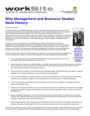 Why Management and Business Studies Need History