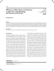 efficiency of microfin institutions in india