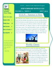 SYEP Participant newsletter- July 2015