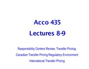 Lecture 8-9 acco435 Resp Centers, Transfer Pricing, Canadian Regulations Review
