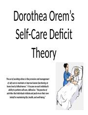 Dorothea Orem's Theory of self care deficit.pptx