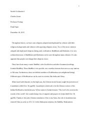World Civilization I final paper (Due Friday).docx