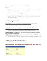 Module 4 - Identifying Assumptions, Biases, and Fallacious Thinking.docx