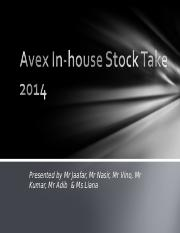Avex Inhouse stock take 2014